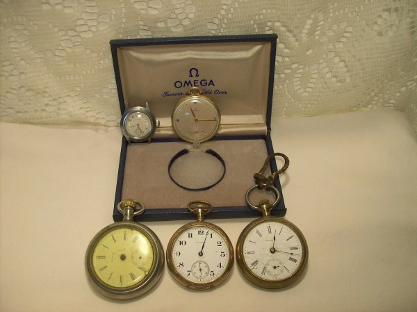 Vintage Waltham Omega Pocket Watches And Milber Wrist Watch