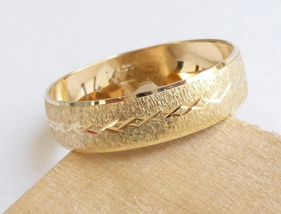 Gold Wedding Band Men Women Wedding Ring With Deep Sandblast