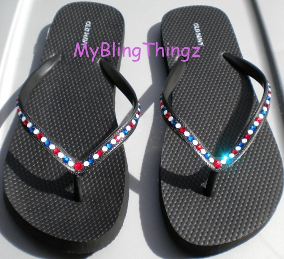 Simply Elegant : Red White Blue USA Crystal Diamond Rhinestone Bling Flips Flops handmade using Real Swarovski Elements - MyBlingThingz