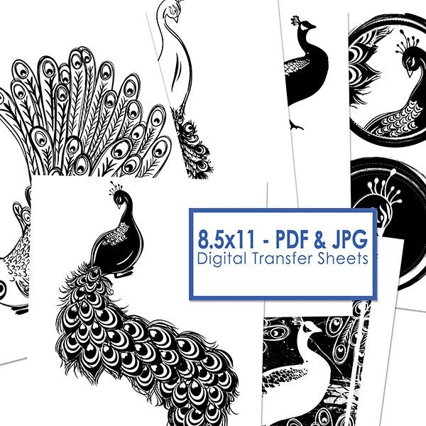 Peacock Clip Art, Printable Image Transfer Sheet, PNG