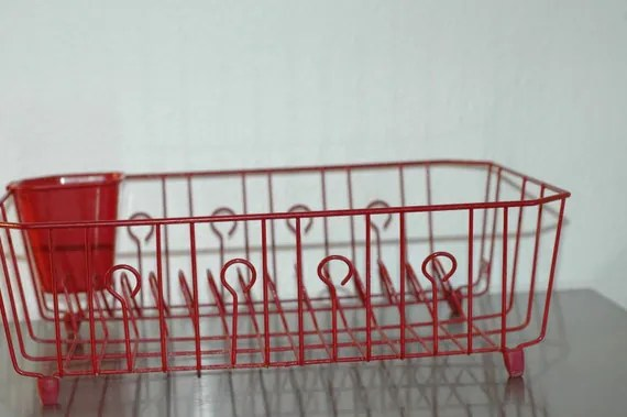 kitchen drying rack burgundy curtains vintage red wire dish drainer