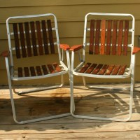 Vintage Folding Lawn Chairs. Mid Century Modern. Wooden Slats.