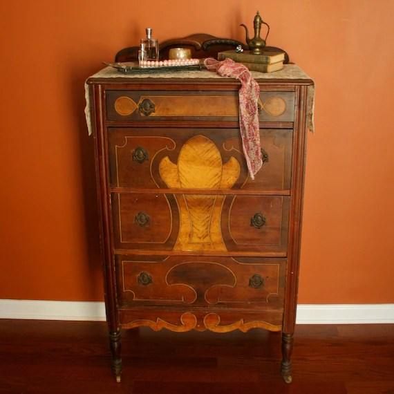Antique Highboy Chest of Drawers 1930s Walnut by RhapsodyAttic