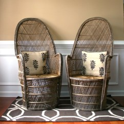 Rattan Or Wicker Chairs Wood And Metal Pair High Fan Back Chairs. Throne Armchair. Rattan.