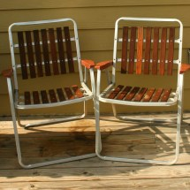 Vintage Folding Lawn Chairs. Mid Century Modern. Wooden Slats