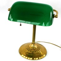 Vintage Bankers Lamp. Brass. Glass. Kelly Green. by ...