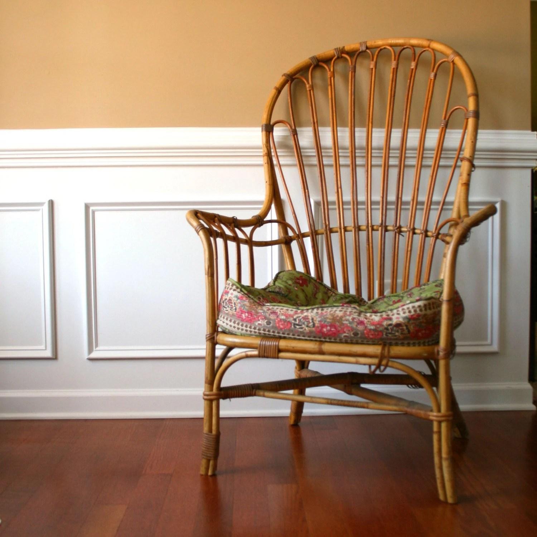 Vintage Cane Patio Chair High Back Armchair Rattan Wicker