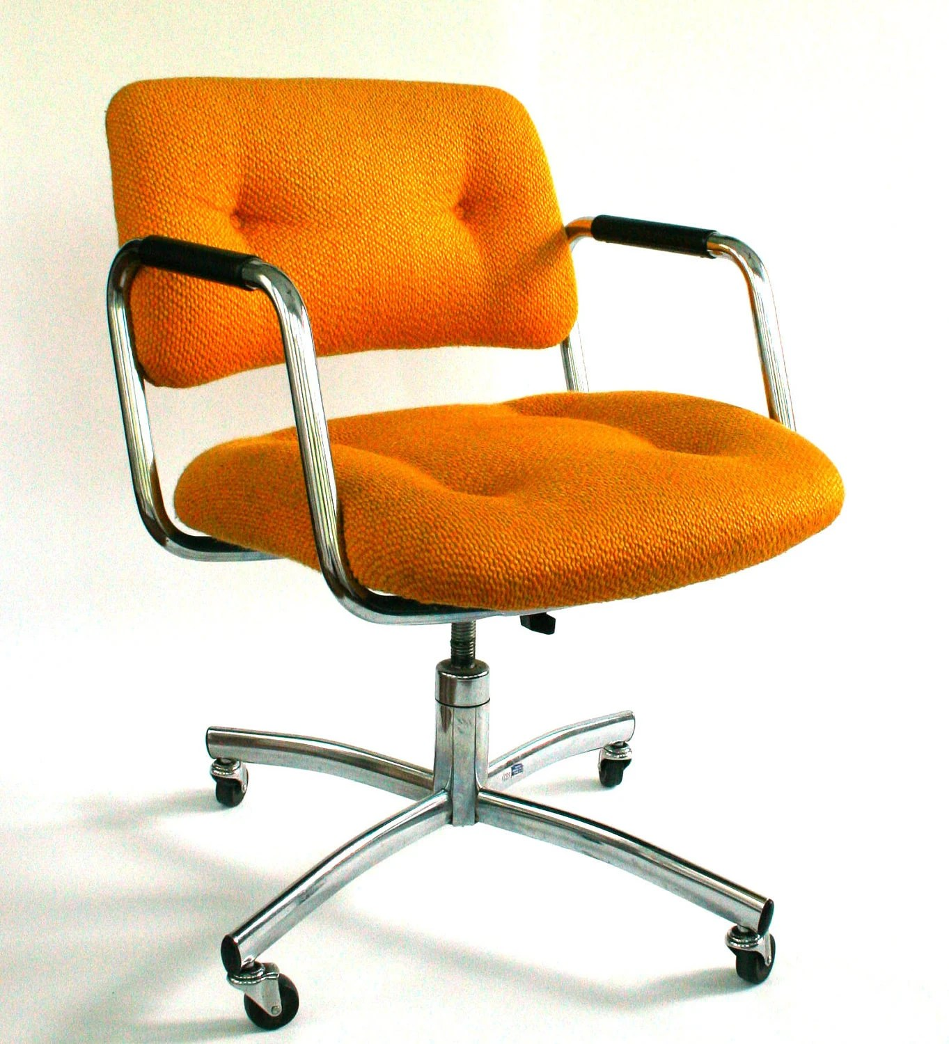 steelcase vintage chair conference table chairs with casters office desk mid century upholstered mustard