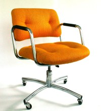 Vintage Office Desk Chair. Mid-Century. Upholstered. Mustard