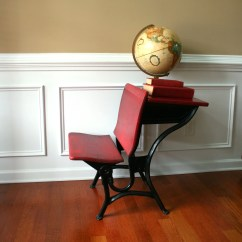Red Childrens Desk Chair Bedroom Bubble Industrial Vintage School W Bench Valentines Day