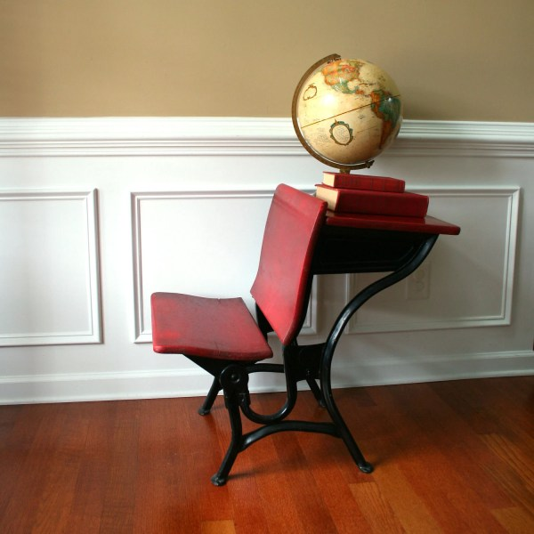 Industrial Vintage School Desk Bench Chair. Rhapsodyattic