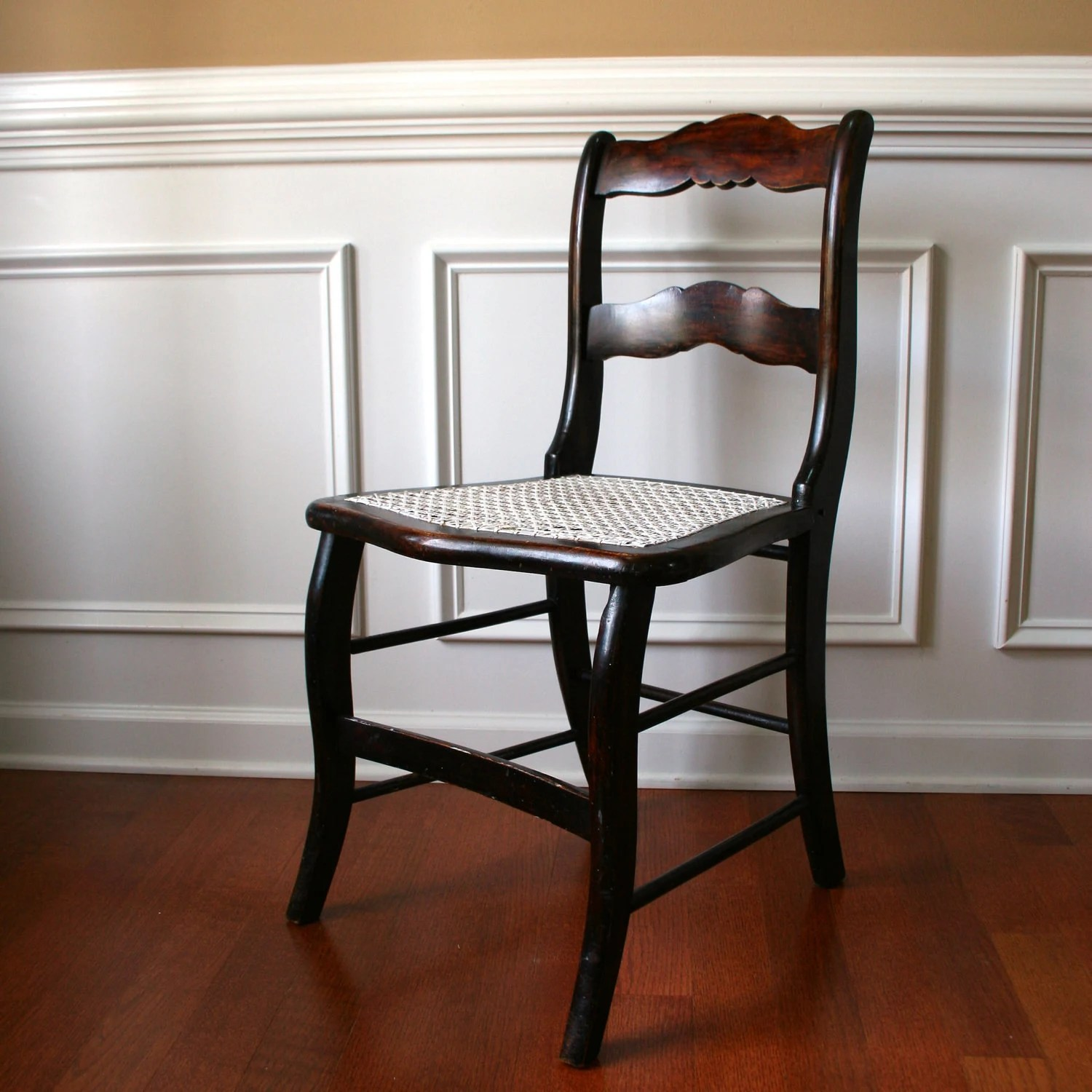 antique accent chair louis xvi dining wood with caning desk boudoir