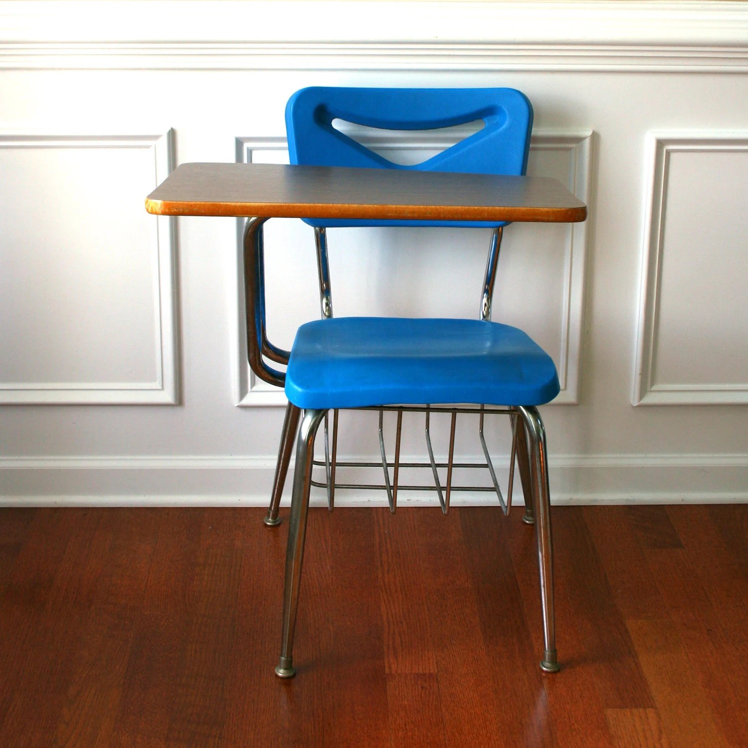 School Desk And Chair Vintage Modern School Desk Storage Chair Metal Plastic Blue