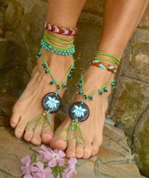 Belly Dance Lotus Flower Barefoot Sandals Bohemian Gpyoga