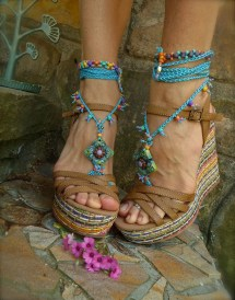 Hippie Summer Barefoot Sandals Crochet Beaded