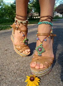 Green Barefoot Sandals Summer Crochet Beaded