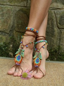 Reserved . Peacock Barefoot Sandals Feather Beach