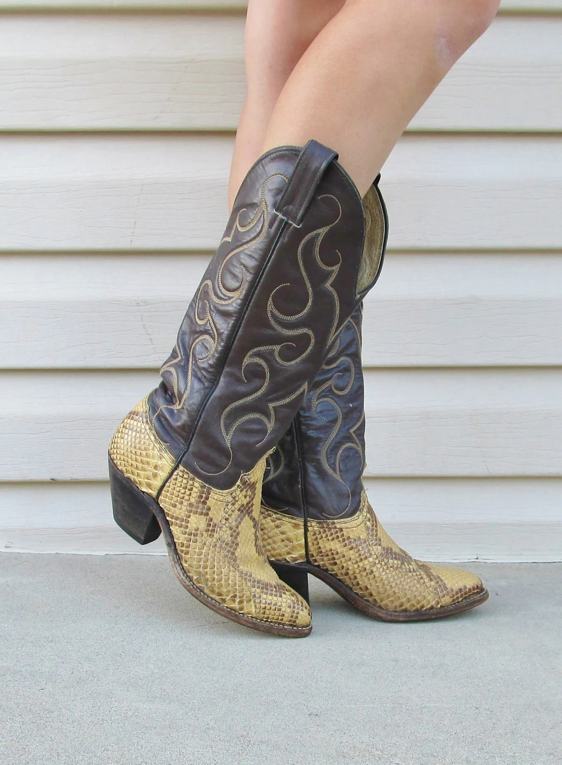 Vintage Abilene Snakeskin Boots Size 7 COUNTRY WESTERN