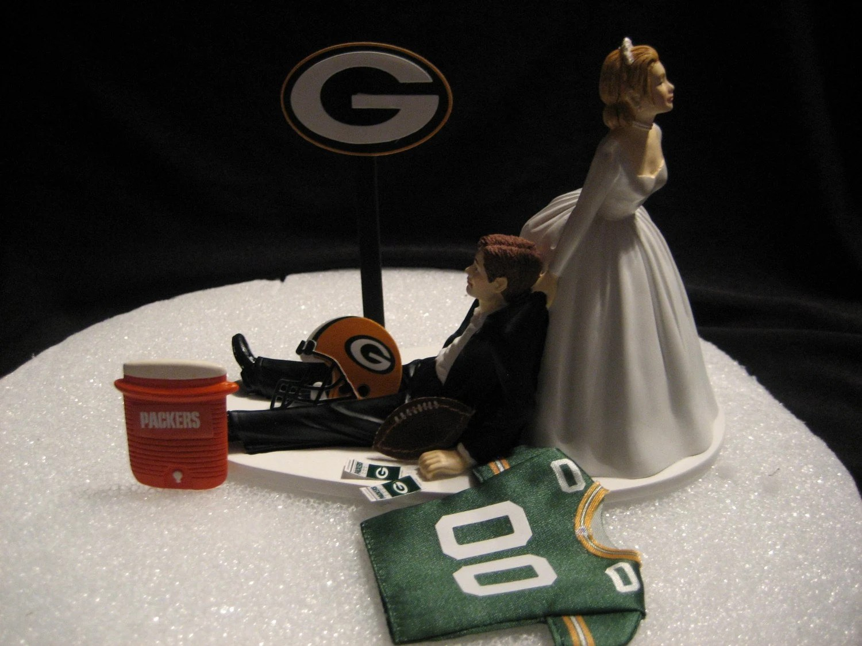 Green Bay Packers Wedding Cake Topper Bride Groom Jersey