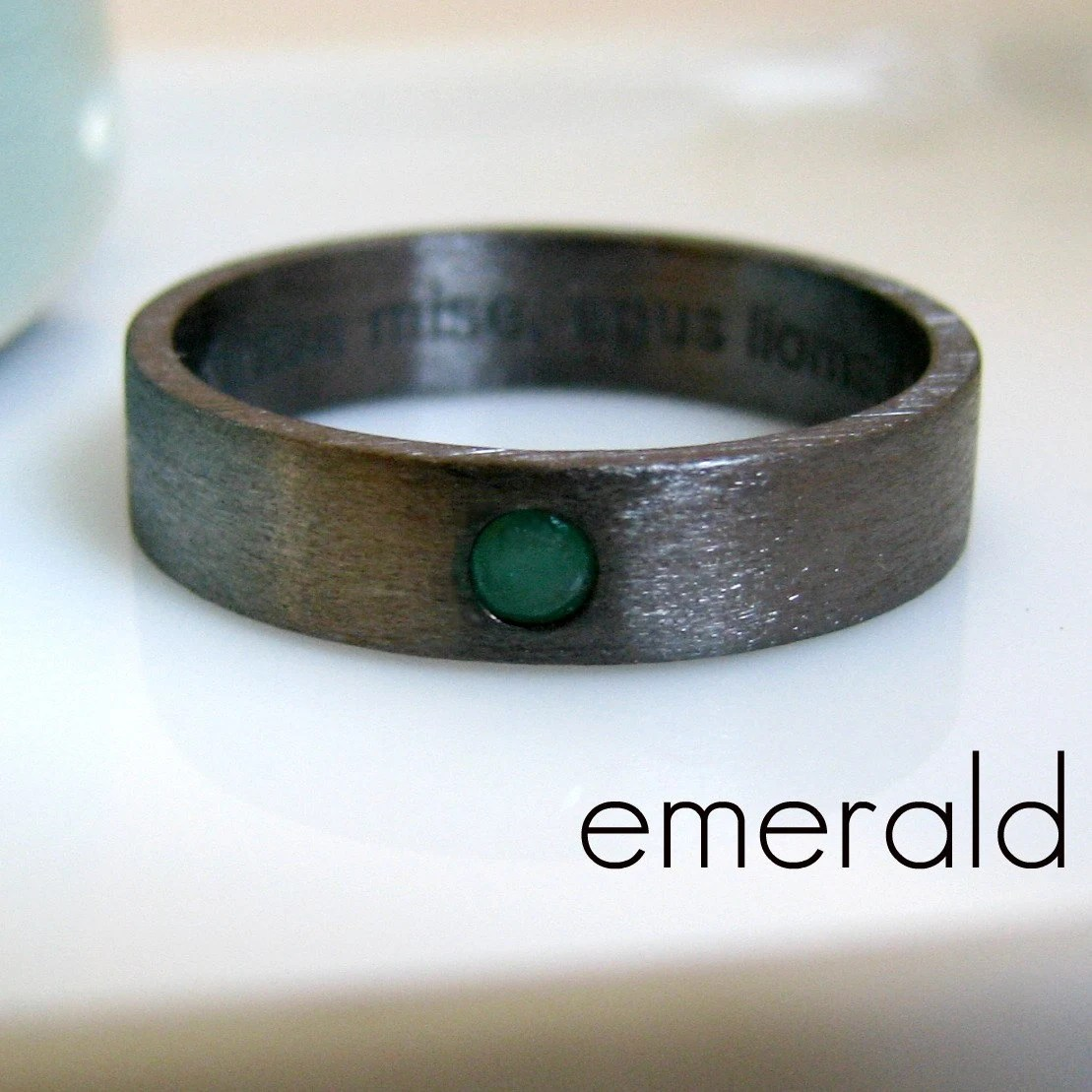 5 6mm Emerald Wedding Band Black Gold Plated Over 925