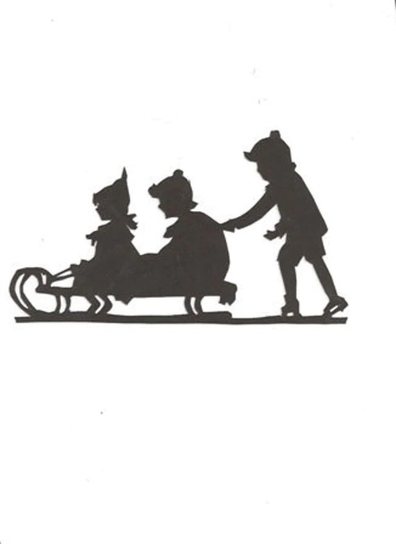 Items similar to Children sledding Silhouette on Etsy