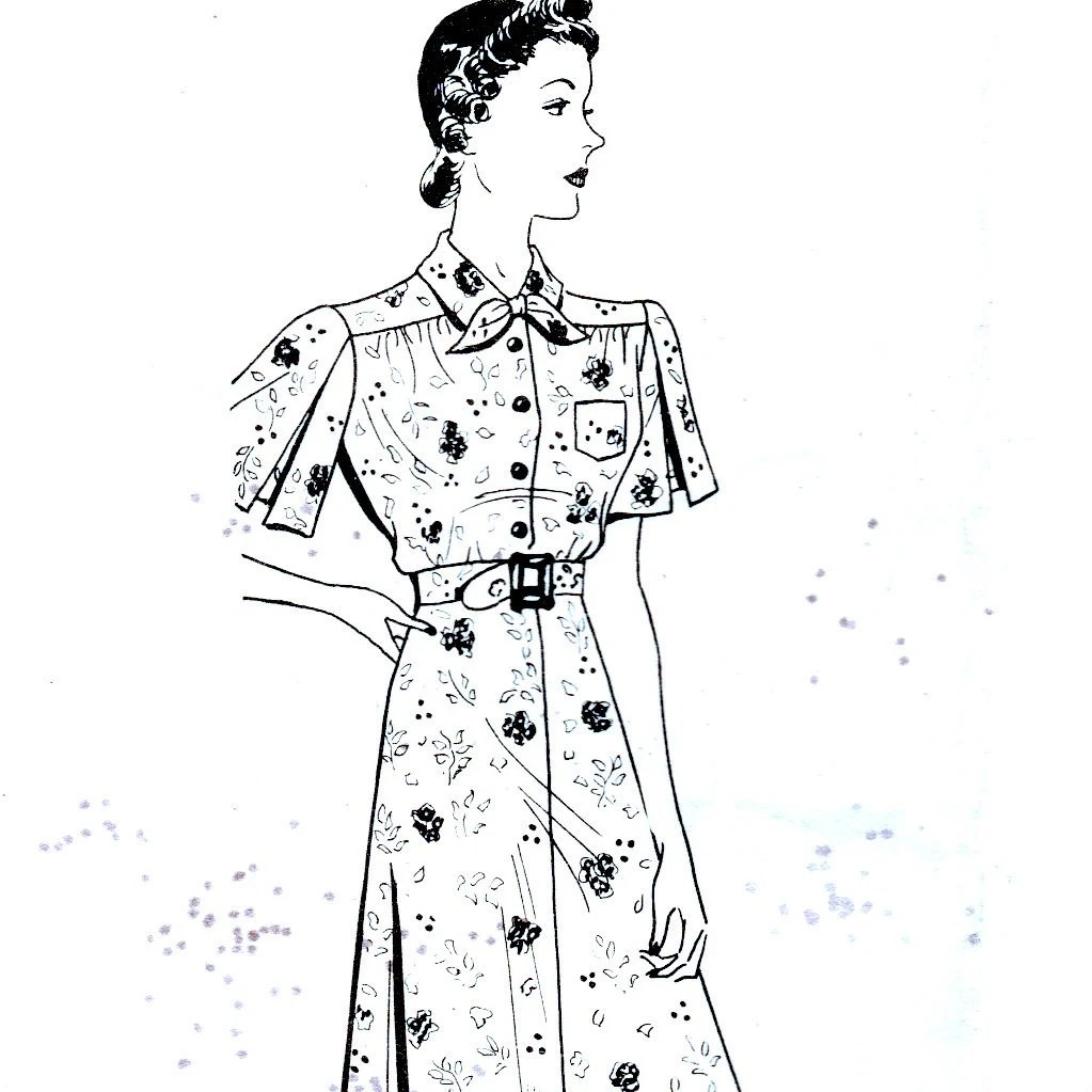 Items similar to 30s Mail Order Pattern 514 Dress Bust 42