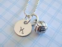 Volleyball Necklace Hand Stamped Jewelry Sterling Silver