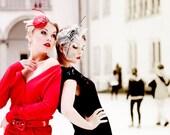 Christmas in July SALE 30% OFF Red Fascinator Cocktail Hat / Butterfly Weddings Races / Swarovski Rhinestones / Head Piece - EllaGajewskaHATS