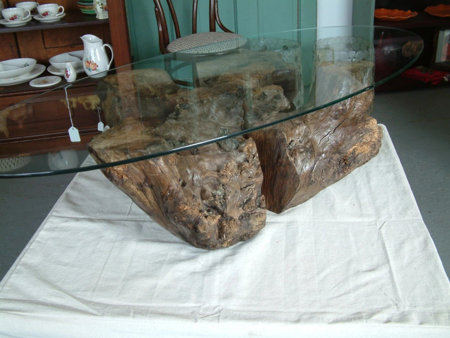 Listing Myrtle Wood Stump Coffee Table Base