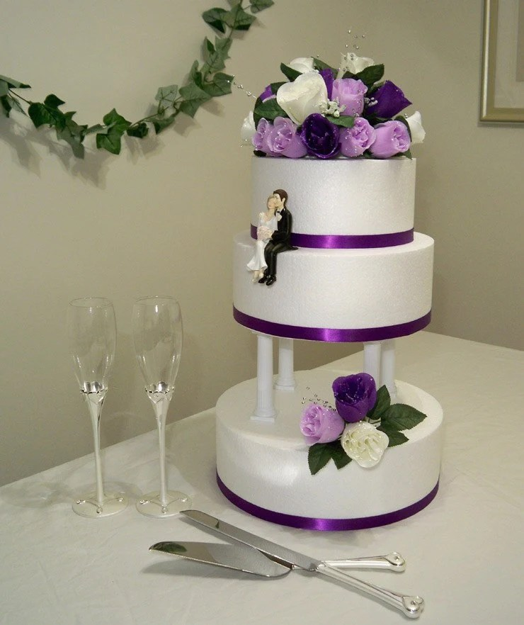 Purple Lavender and Cream Silk Rose Wedding Cake Topper Set