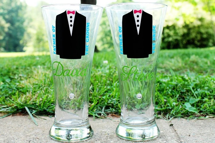 Father of the Bride and Groom SET OF 2 Personalized Bridesmaid Wedding Bridal Shower Date Groom Groomsman Bachelorette Pilsner Glass Gift