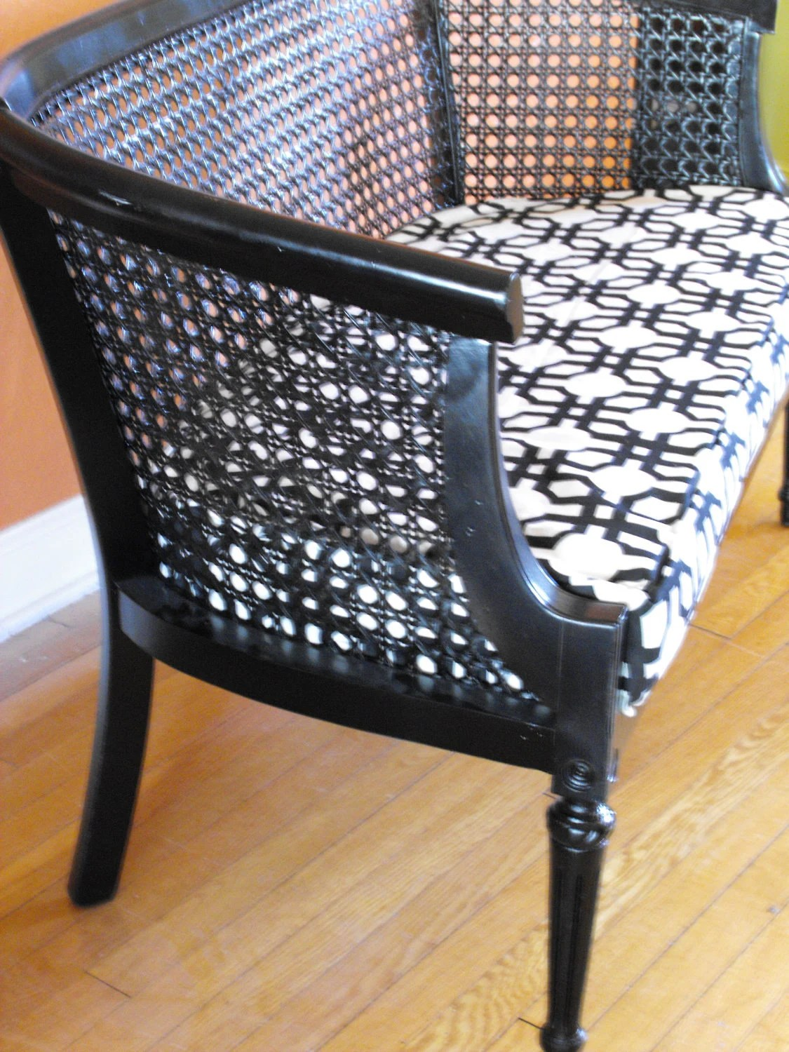 swivel chair mid century carex shower cane vintage modern settee bench refinished for