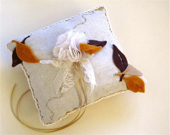 Fall Leaves Ring Bearer Pillow. Brown Leaves ring bearer pillow.Brown.Mustard.Natural. Shabby Chic Ring pillow. Wedding Romantic Pillow. - katikamade