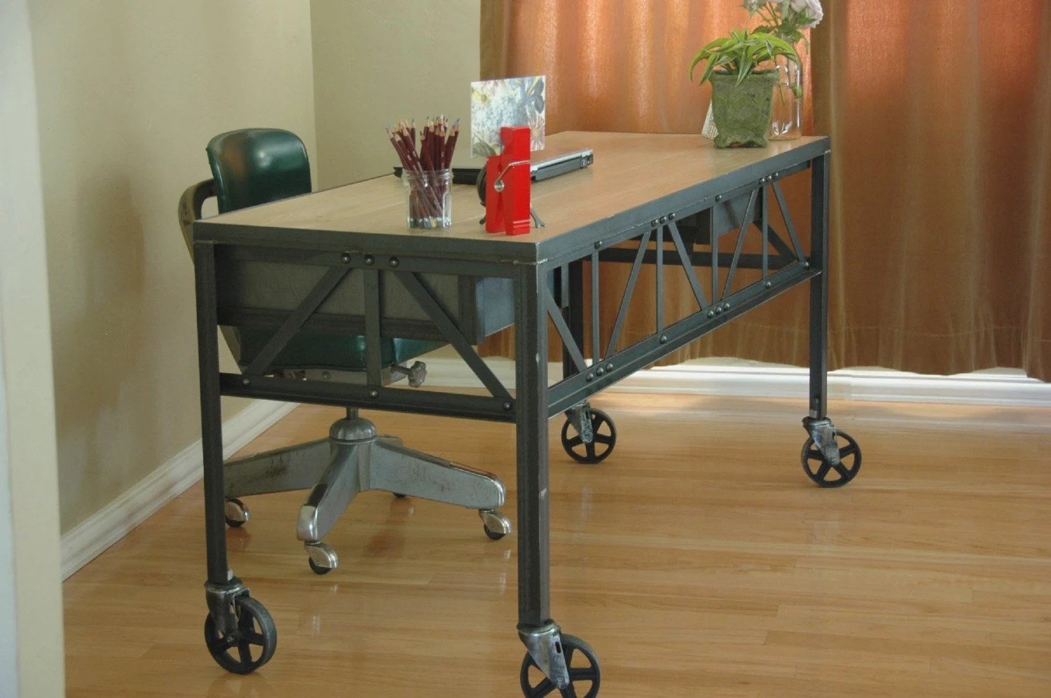 Industrial Office Chair Royston French Industrial Desk On Casters By