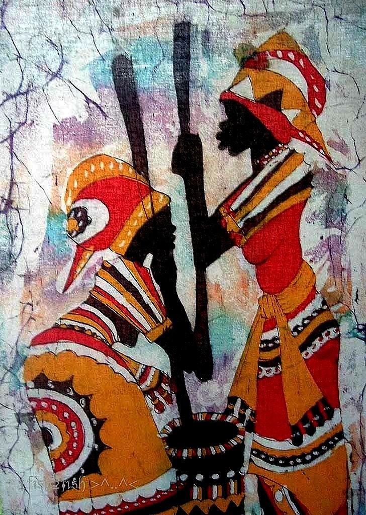 African Art Vintage Batik Painting Women Prepare Food