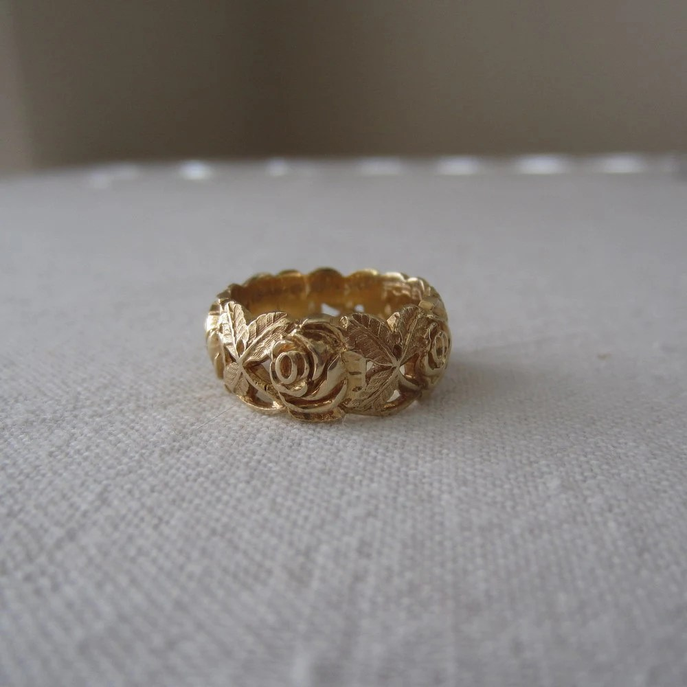 Vintage Wedding Band ArtCarved 1970s Floral Rose Pattern