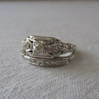 Art Deco Wedding Set. Engagement Ring. Wedding Band. Diamonds