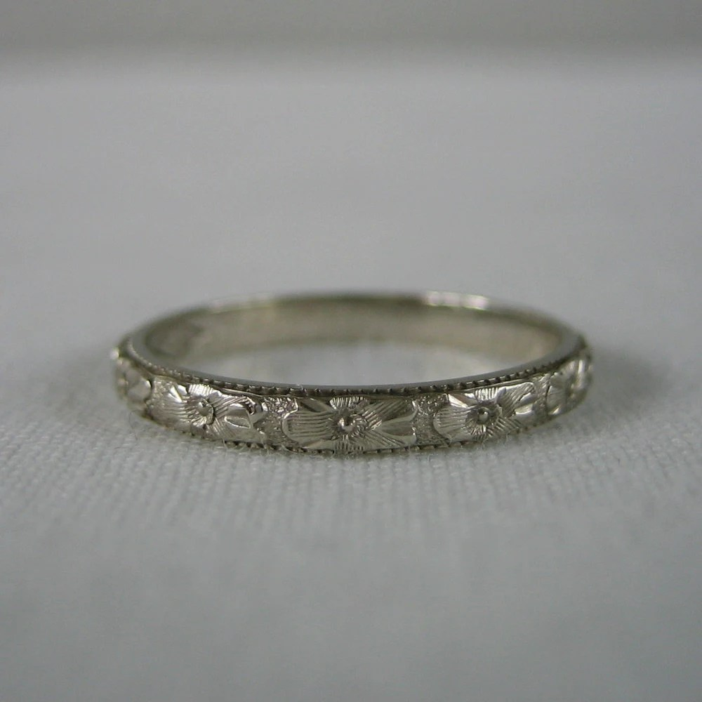 Wedding Band Orange Blossom Pattern Floral Etched 14 Karat