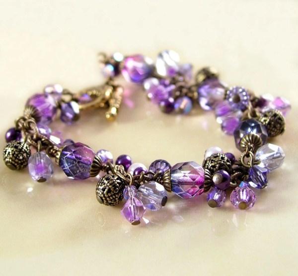 Violet Purple Bracelet Swarovski Crystal Amethyst