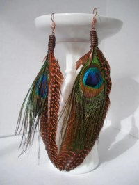 Peacock Feather Earrings by HurleyRose on Etsy