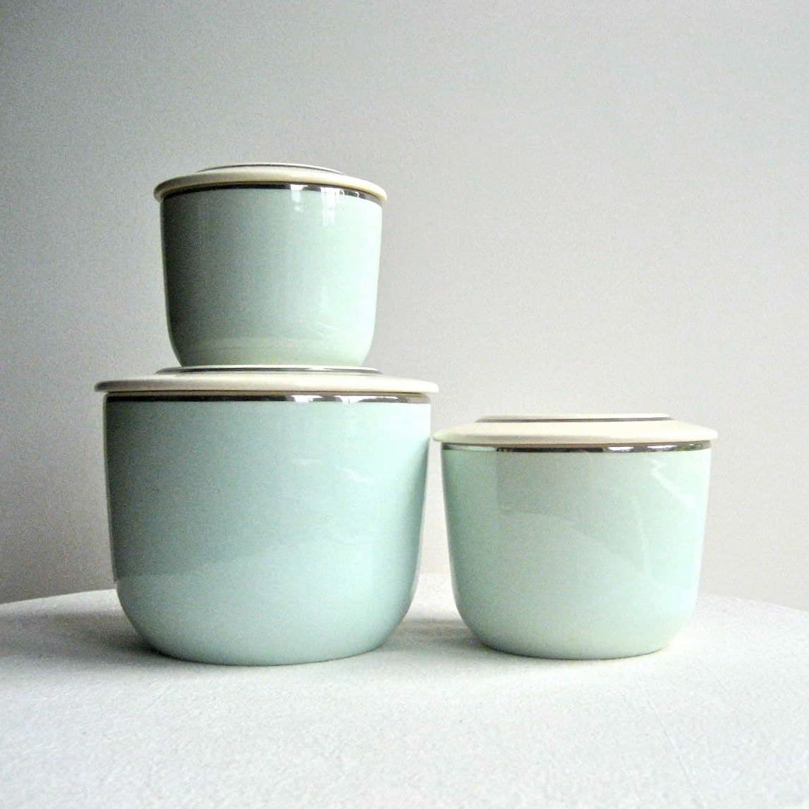 kitchen canisters ceramic craigslist table and chairs set of three ballerina mist in