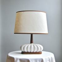 Mid Century Modern Table Lamp White Ceramic and Walnut 1960s