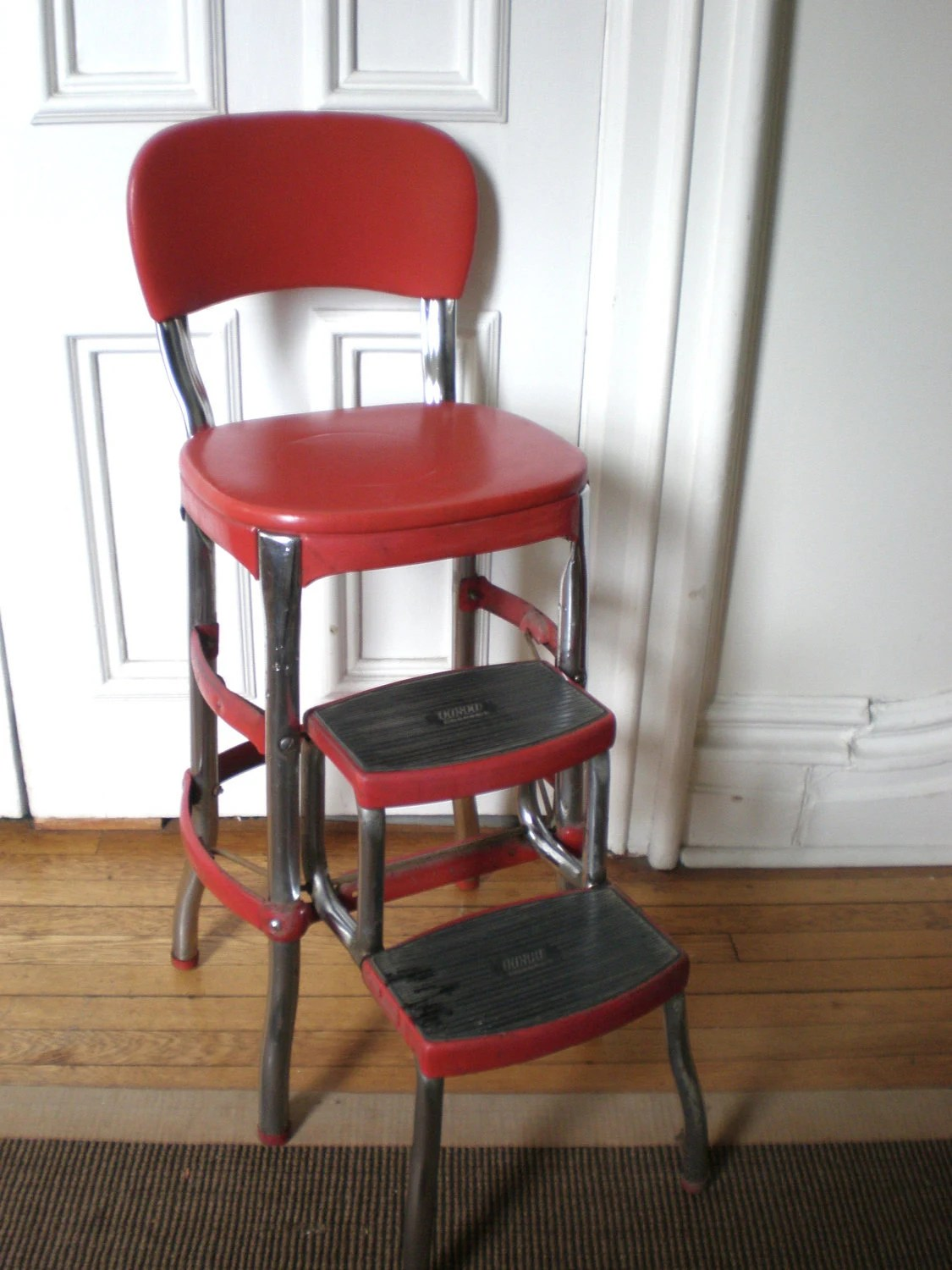 vintage cosco step stool chair dinette chairs with arms red kitchen