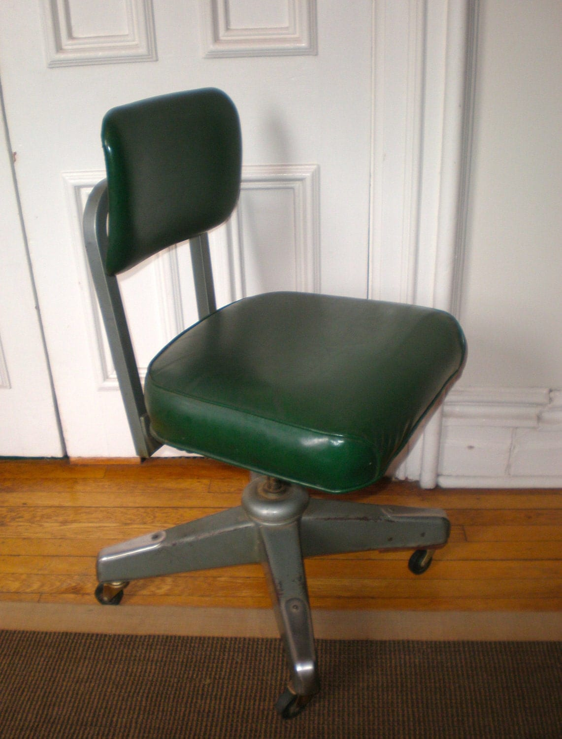 office chair steel base with wheels leather lounge and ottoman mid century atomic industrial steno / by greenzebre