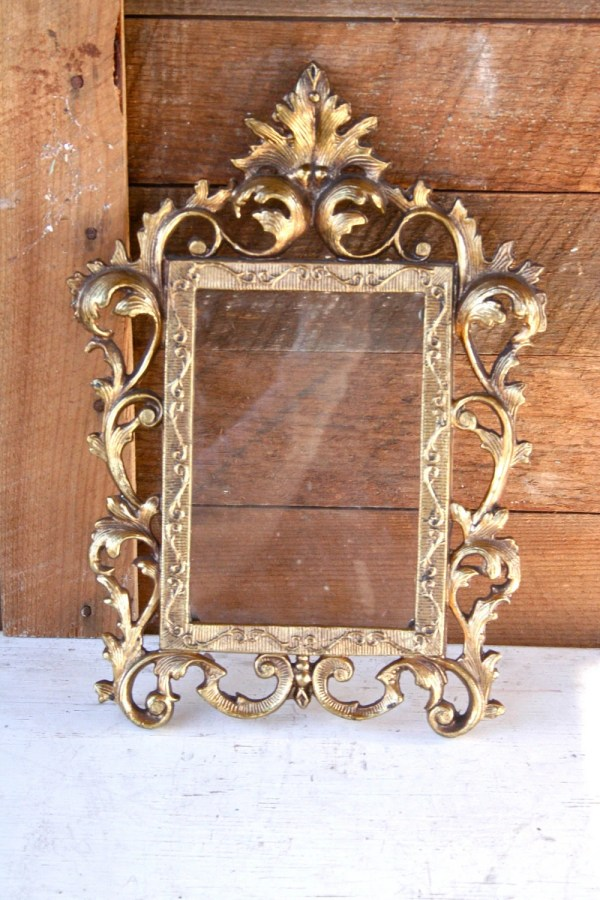 Antique Gold Cast Iron Ornate Frame Glass Loveliesshop