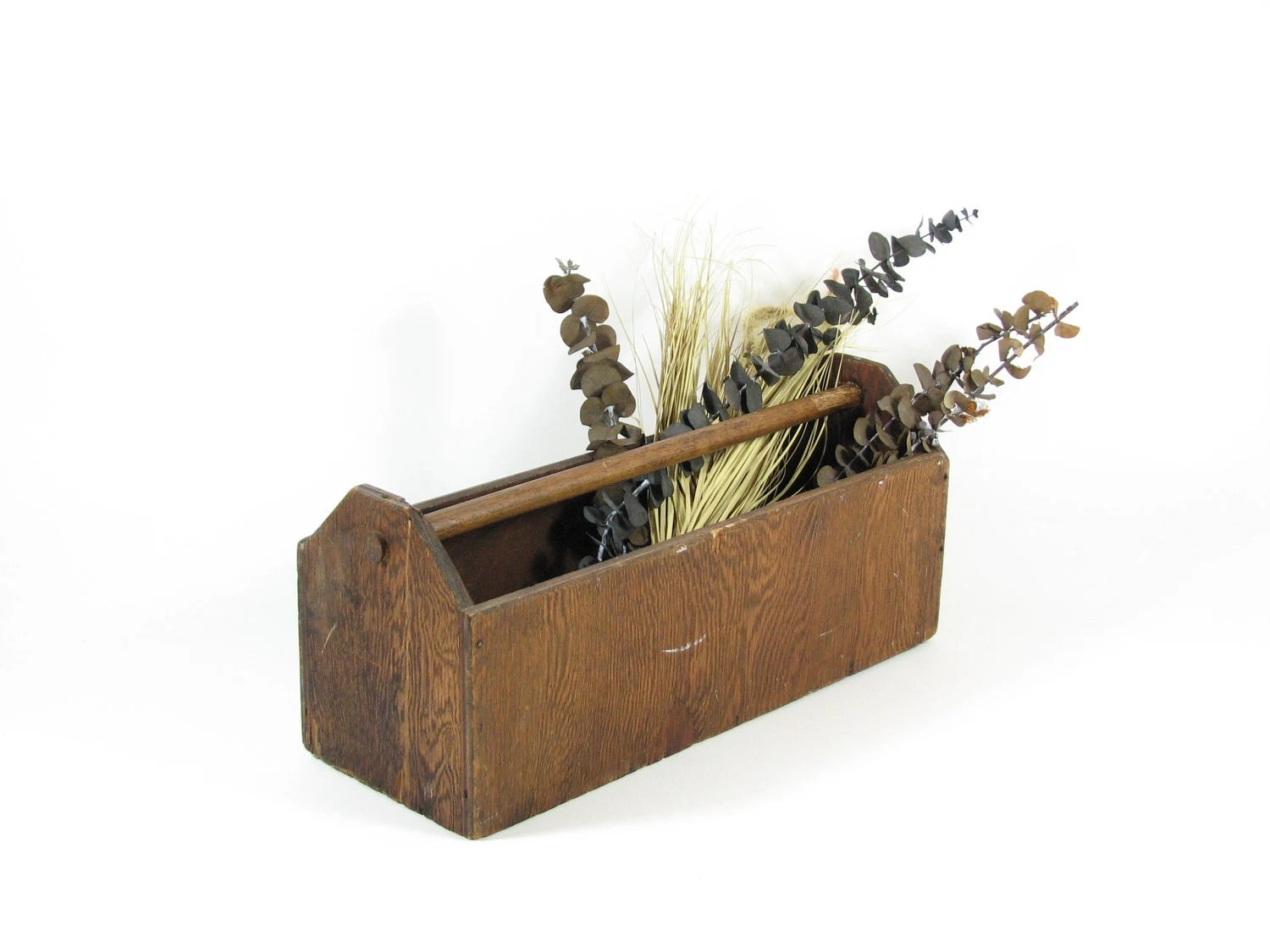 Vintage Wood Tool Tote Long Wooden Box With Handle Planter Box