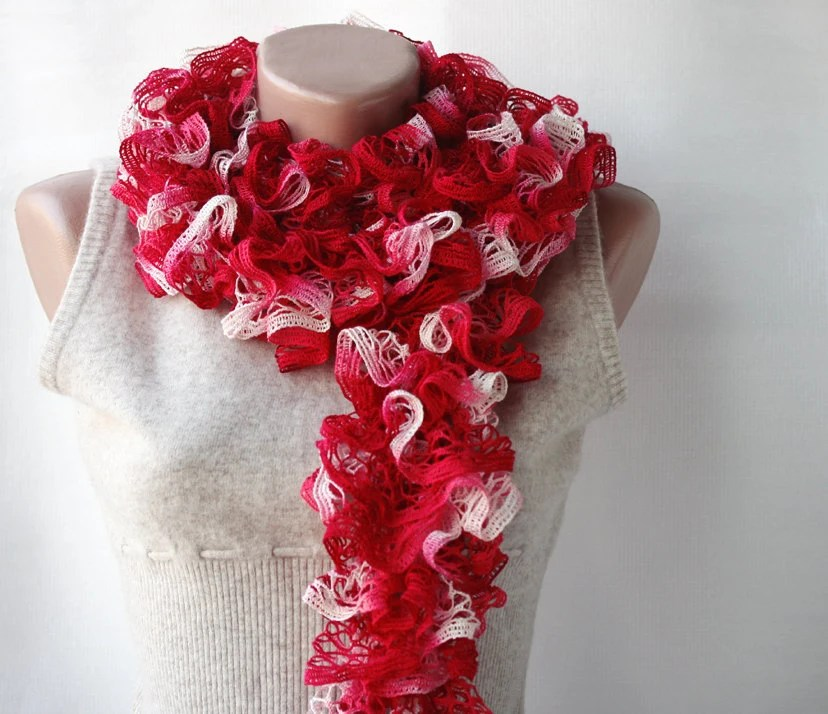 Red knit scarf Carmine red spring accessories - violasboutique