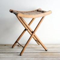 SALE vintage wooden folding stool