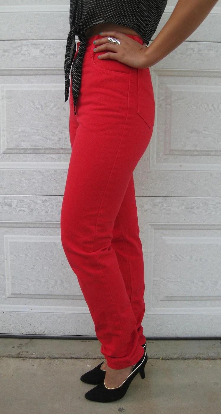 Vintage Bongo Red Denim Pants by LARidas on Etsy