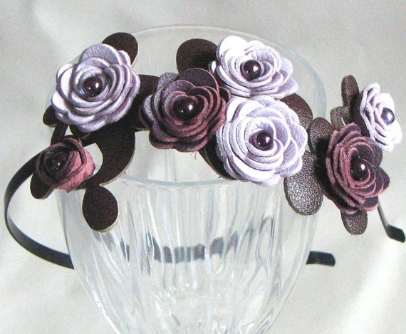 Purple flower headband leather lavender and plum roses moss green leaves metal hairband, floral bridal tiara woodland wedding
